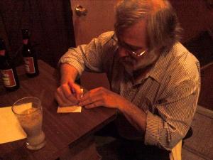 Glen kindly writes me down the recipe.