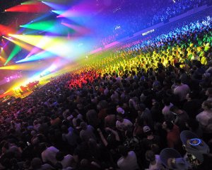 A view of the crowd gathered for the Phish performance at the Hampton Coliseum on March 6, 2009