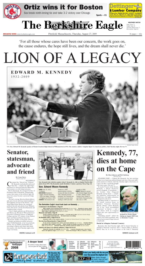 Edward Kennedy, known as the lion of the Senate, died Tuesday.