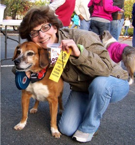 mom and willie posing at the first annual north adams dog costume parade
