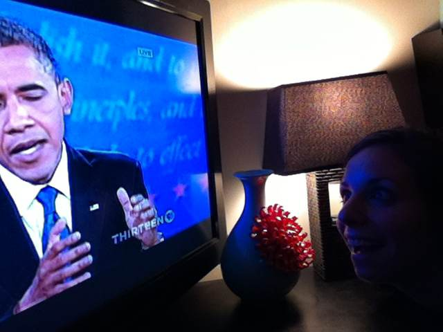 Ange watching Obama studiously....